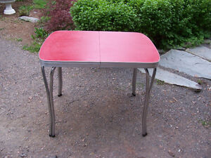 Vintage Red Chrome Table Top is 39 by 30