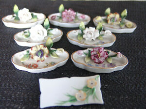 Group of Seven 19 century Flower Placecard Holders Germany one p