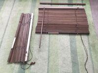 2 x dark brown Venetian blinds wooden slat