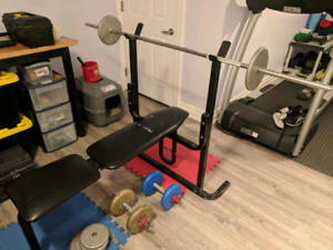 Bench press bench and weights