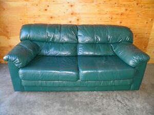 """GREEN """"REAL LEATHER"""" HIDE A BED COUCH"""