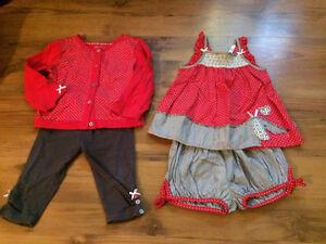 Lot de vêtements bébé fille 3-24 mois (38 morceaux en tout)