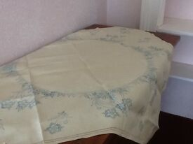 Linen tablecloth stencil printed for embroidery