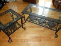 2 tables de salon en vitre, ardoise et fer forgé