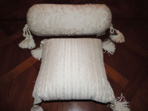 2 Ivory Silk Decorative beaded pillows