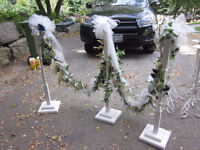 2 Sets of 3 White Wooden decorated Aisle Markers Wedding