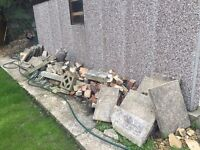 Paving slabs and rubble