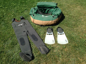 Belly Boat, Waders and Flippers