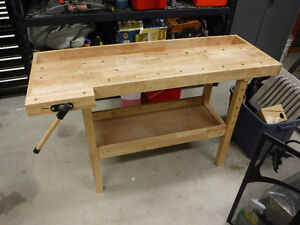 Pine workbench with vise