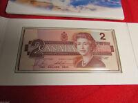 Monnaie Canada 1996 2$ + Billet Incircule dans pochette