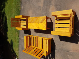 Cedar love seat with 2 chairs and table