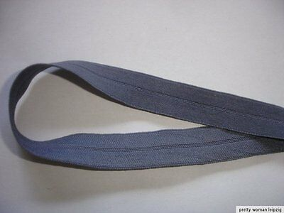 10m Gummiband 0,26€/m grau mit Knickkante 15mm breit EE3