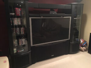 65in TV with wall unit