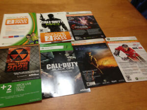 Xbox 360 gold trial cards and download cards