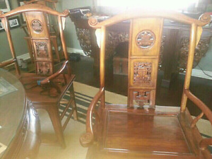 Brown Chairs with Carving