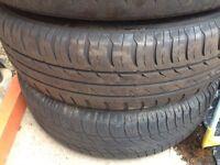 Set of 4 steel wheels with tyres