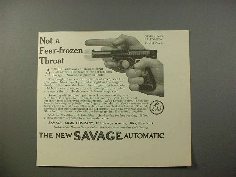1914 Savage Automatic Pistol Gun Ad - Fear-Frozen