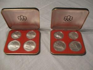 2 coffrets de 4 pièces d'argent monnaie Olympique
