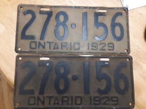 1929 Ontario Licence Plate Plates pair street rod man cave