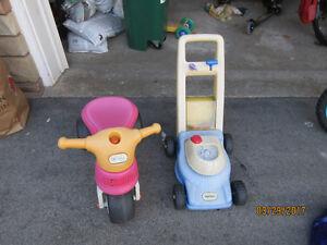 Little Tikes trike & lawnmower popper