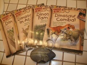 Four Dinosaur Books (Food, Action, Families & Combat)