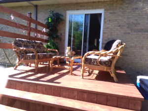 Patio set wicker bamboo rotin osier