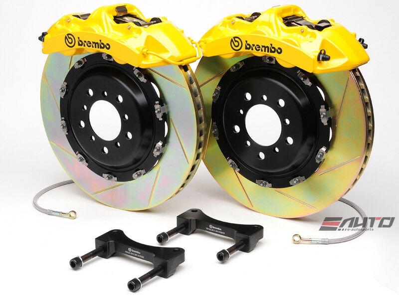 Brembo Front Gt Brake Bbk 6pot Yellow 380x32 2pc Slot Disc Rotor Mustang 05-13