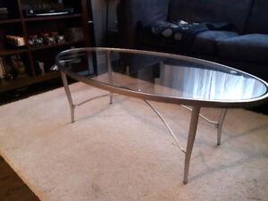 Ensemble table de salon/console en verre et stainless