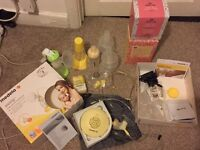 Electric Medela breast pump set with accessories
