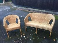 Wicker Sofa and Chair £20