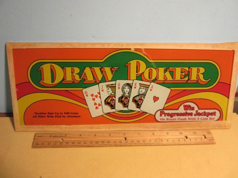 "DRAW POKER Slot Machine Belly Glass SIGN -15 1/4 x 6"""