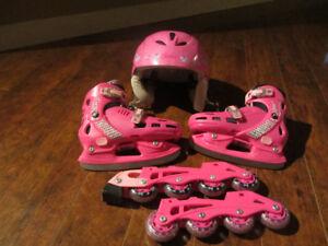 patin ajustable fille grandeur 12 à 2 et casque