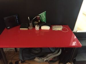 IKEA red desk and shelf + leather wheel chair