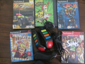 PS2 - 5 Games and Quiz Game Controller for $10