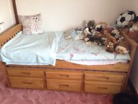 Pine cabin bed 6ft with pull out bed with 3 draws