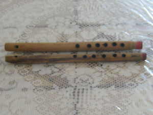 Carved wooden flutes
