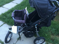 Brilliant black valco stroller,joey,car seat adapter and covers