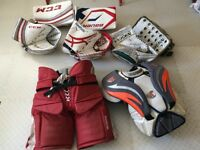 Hockey goalie gear some pro stock and size junior-senior