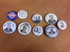 RARE  LOT OF 9  COLLECTION OF OLD POLITICAL  BUTTONS Kingston Kingston Area image 1
