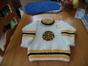 Boston bruins sweater size 2-4 acrylic, hand knitted
