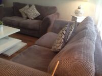 Stunning 2 x 3 Seater Sofas Grey Cord / Can Deliver