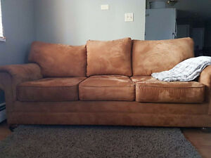 Queen Sized Microsuede Sofabed And Loveseat