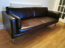 Designer chocolate brown leather sofa FREE DELIVERY