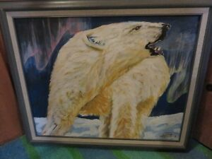 OIL PAINTING POLAR BEAR UNDER THE NORTHERN LIGHTS 23 inches wide
