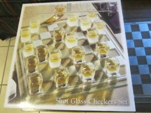 Crystal Glass - Shot Glass Checkers Set - 27 Piece Set