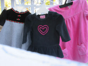 3 DRESSES CARTER HRTS 3 MOS; BLK & ROSES 6 MOS. PINK 9 -12