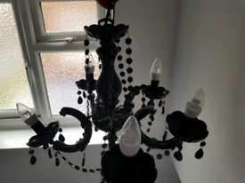 Black Chandelier with new bulbs