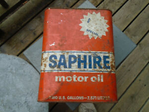 Old steel oil can, from Saphire  motor oil.