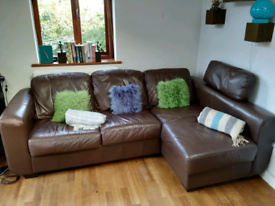 SOLD Leather corner Sofa/Settee Brown