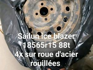 4 pneus dhiver sur rim 185 65r15